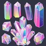 Gems, crystals sticker set vector vector illustration