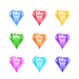 Gems and diamonds icons set Stock Photos