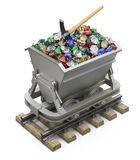Gems and diamonds in the mining cart Royalty Free Stock Image