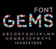 Gems font. Precious stones ABC. Treasures of alphabet. Letters f Stock Photography