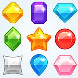 Gems. Cartoon colored stones with different shapes for use in the game. Vectorr Royalty Free Stock Images