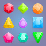Gems icons. Shiny gems for match thee game vector illustration