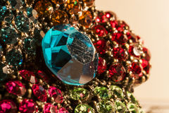Gems macro. Blue gem macro and gold Royalty Free Stock Photos