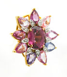 Gems pendant. A pendant with colorful gem stones and diamonds stock photography