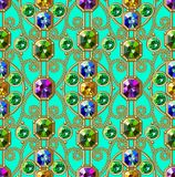 Gems Seamless Pattern. Gold Ornament. Glamour Pattern. Gems. Vector Seamless Pattern. Gold Ornament. Glamour Pattern. Green Background. Embroidery Royalty Free Stock Images