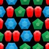 Gems seamless pattern. Vector background of gemstone jewelry Stock Photo