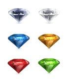 Gems set of icons. Illustration on white background Royalty Free Stock Photos