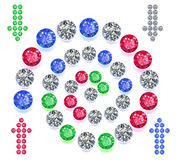 Gems spiral maze game interface set Royalty Free Stock Photography