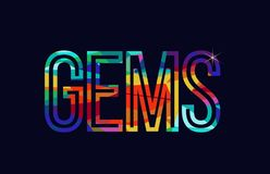 Gems word typography design in rainbow colors logo. Gems word typography design in rainbow colors suitable for logo or text stock illustration