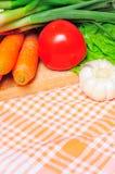 Gemüse auf einem Küchenstoff Lizenzfreie Stockbilder
