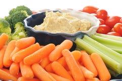 Gemüsemehrlagenplatte mit hummus Lizenzfreie Stockfotos