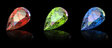 Gemstome shape of pear. Jewelry gems shape of pear on black background. Ruby Stock Photography