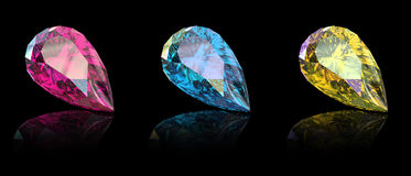 Gemstome shape of pear. Jewelry gems shape of pear on black background. Ruby Royalty Free Stock Photos