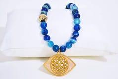 Gemstone agata błękitna kolia Zdjęcia Royalty Free