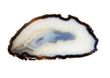 Gemstone agate isolated o on white background. Natural gemstone agate & x28;cryptocrystalline& x29; close-up, beautiful texture of gemstone isolated over white Stock Photos