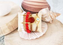 gemstone bracelets - coral and agate stones - greek jewelry Stock Image