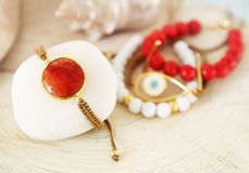 Gemstone bracelets - coral and agate stones - greek jewelry Stock Images
