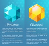 Gemstone Color Diamonds Posters Precious Crystals. Gemstone color diamonds on posters with text, precious crystals and minerals, geological glass gems vector Stock Photos