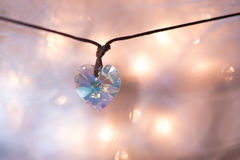 Gemstone crystal pendant, shape of a heart Stock Photo