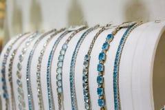 Gemstone decorated bracelets collection, Ceylon Royalty Free Stock Photography
