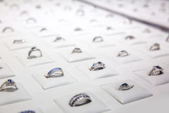 Gemstone decorated rings collection, Ceylon jewels Royalty Free Stock Photography