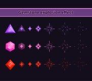Gemstone explosion effect. Stones disappearance animation storyboard Stock Image