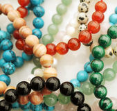 Gemstone Jewelry. Bracelets made from many different gemstone beads Royalty Free Stock Images