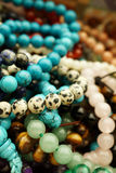 Gemstone Jewelry. Bracelets made from many different gemstone beads Stock Photo