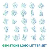Gemstone letter a-z logo design icon template vector element isolated. Vector royalty free stock images