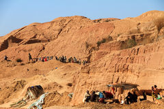 Gemstone mining. Local people working in the sapphire (and other gemstones) mine in Ilakaka, Madagascar, on September 10, 2013 Stock Image