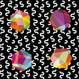 Gemstones abstract seamless pattern. Colorful jewels on black Royalty Free Stock Photo