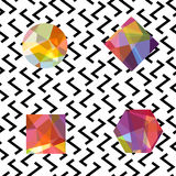 Gemstones abstract seamless pattern. Colorful jewels on white Royalty Free Stock Photo