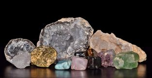 Gemstones arranged for display on a table. royalty free stock image