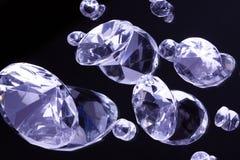 Gemstones on black mirror Stock Photos