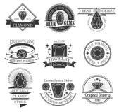Gemstones Black White Emblems Set Stock Images