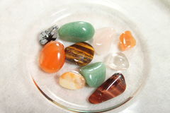 Gemstones in the bowl Royalty Free Stock Photography