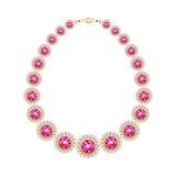 Gemstones chain golden metallic necklace or bracelet. Royalty Free Stock Photos