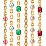 Gemstones and chains seamless patterns. Borders set. Isolated on white stock illustration