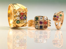 Gemstones finger rings Royalty Free Stock Photos