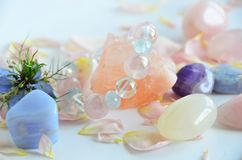 Gemstones with flowers Royalty Free Stock Photos