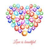 Gemstones Heart Shape Royalty Free Stock Photography