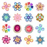 Gemstones jewelry brooch flower pattern set Royalty Free Stock Image