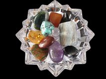Gemstones no prato de cristal Imagem de Stock Royalty Free