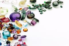 Gemstones på vit royaltyfri fotografi