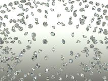 Gemstones scatter and fly away over gradient. Background. 3d render Stock Photography