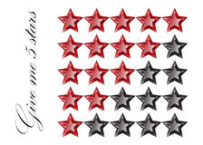 Gemstones stars rating  on white background . Five stars system rating. Luxury rate Stock Photos