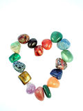 Gemstones Valentine's heart. Isolated gemstones Stock Photo