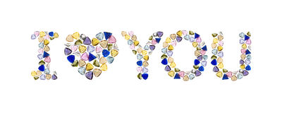 Gemstones words, I love you. Royalty Free Stock Images