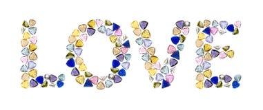 Gemstones words, LOVE. Stock Image