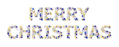 Gemstones words, Merry Christmas. Isolated on white background Stock Photo